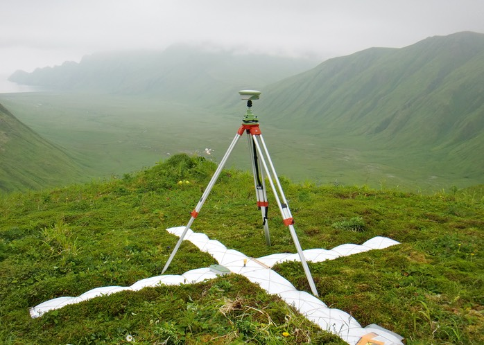 GPS for aerial photo control in Akutan's geothermal valley