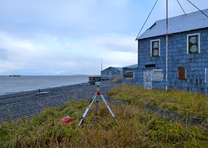 Static GPS observation on a USC&GS survey mark near the cannery in Clark's Point, AK